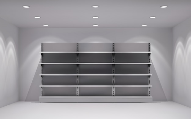 Realistic 3d store interior