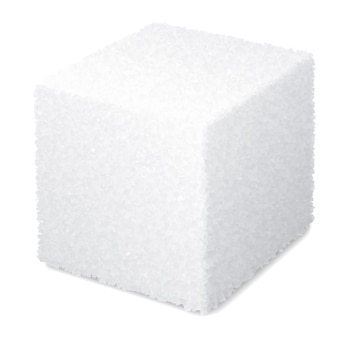현실적인 3d 설탕 큐브 흰색 배경에 고립
