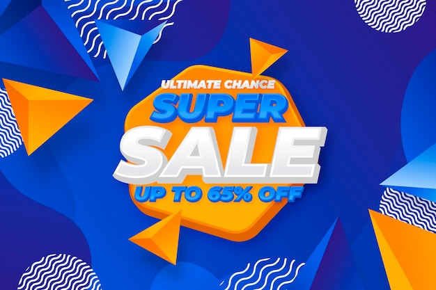 Realistic 3d super sale background with triangular shapes