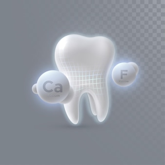 Realistic 3d tooth with calcium and fluorine particles isolated on transparent background