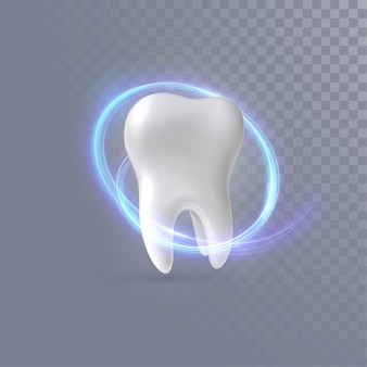Realistic 3d tooth with neon light trail isolated on transparent background