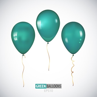 Realistic 3d transparent green helium balloons isolated