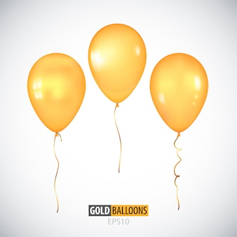 Realistic 3d transparent yellow helium balloons isolated