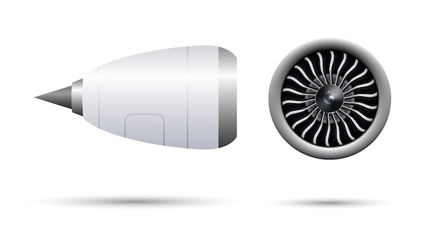 Realistic 3d turbo-jet engine of airplane