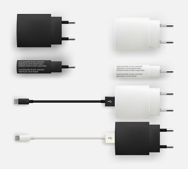 Realistic 3d usb micro cables, connectors, sockets and plug