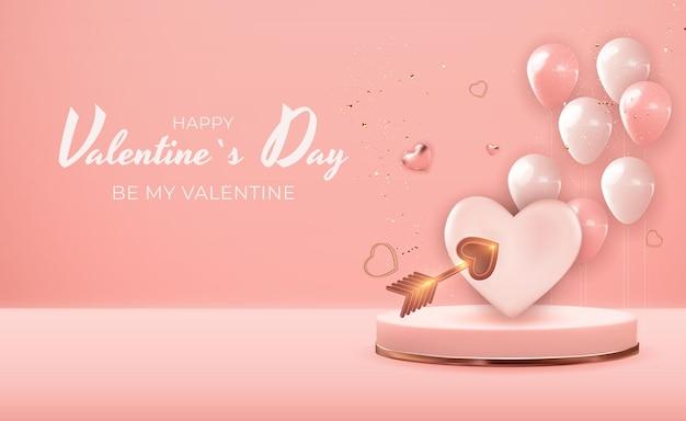 リアルな3dバレンタインデーの休日のバナーデザイン。