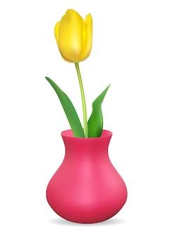 チューリップの花とリアルな3d花瓶。