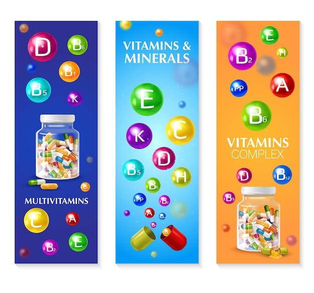 Реалистичный трехмерный витаминно-минеральный набор из трех вертикальных баннеров с красочными пузырьками и редактируемым текстом