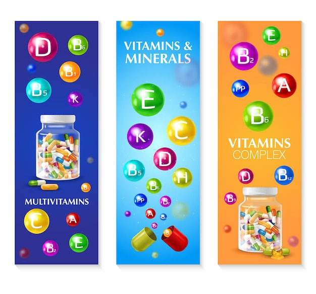 Realistic 3d vitamin mineral set of three vertical banners with colourful bubbles pills and editable text