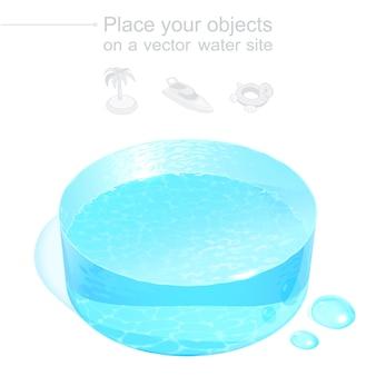 현실적인 3d 물 디스크. 하늘색 액체 연단. 수상 레크리에이션, 해상 항해 또는 정화와 관련된 물건을 놓기위한 아이소 메트릭 템플릿. 투명 그라디언트 메쉬가있는 파일입니다.