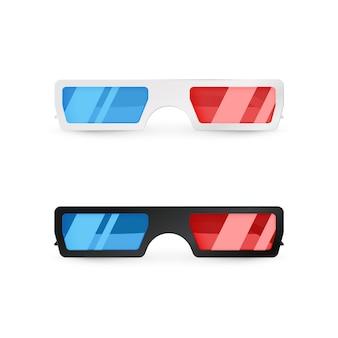 현실적인 3d 흰색과 검은 색 안경 전면보기