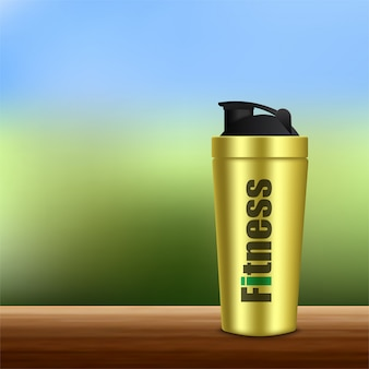 Realistic 3d white and black empty glossy metal water bottle with black bung icon set closeup on white
