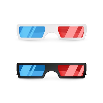 Realistic 3d white and black glasses front view