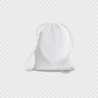 Realistic 3d white blank bag and backpack with drawstring on a transparent background.