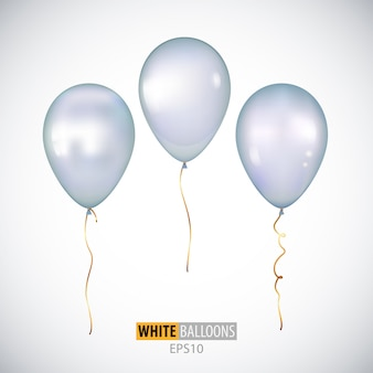 Realistic 3d white helium balloons isolated