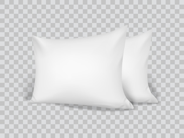Realistic 3d white pillows. closeup. front view