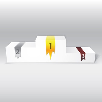 Realistic 3d white podium with silver, gold and bronze ribbons. vector illustration