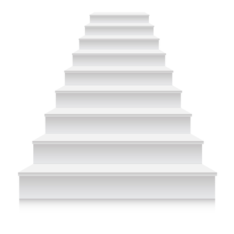 Realistic 3d white stair step