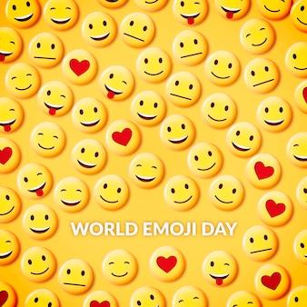 Realistic 3d world emoji day illustration