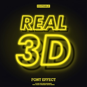 Realistic 3d yellow glowing neon font effect