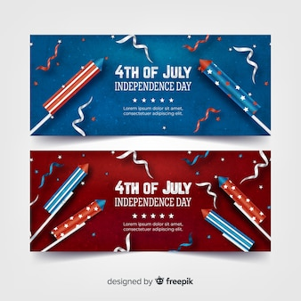 Realistic 4th of july banners