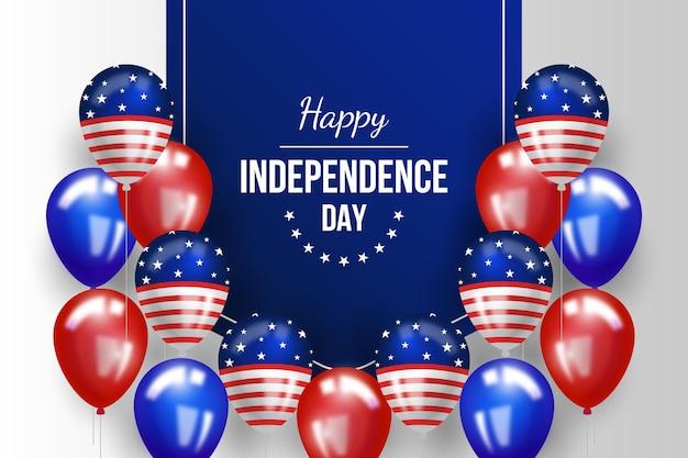 Realistico 4 ° sfondo di palloncini per il giorno dell'indipendenza di luglio