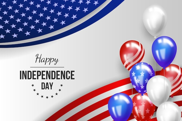 Realistic 4th of july independence day balloons background