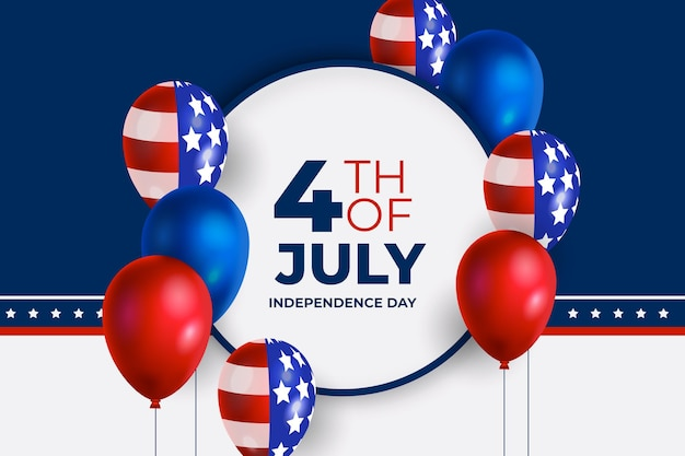 Realistic 4th of july - independence day balloons background