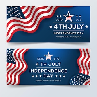 Realistic 4th of july - independence day banners
