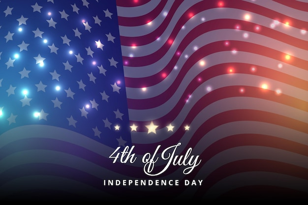 Realistic 4th of july independence day illustration