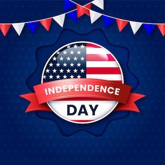 Illustrazione realistica del 4 luglio del giorno dell'indipendenza