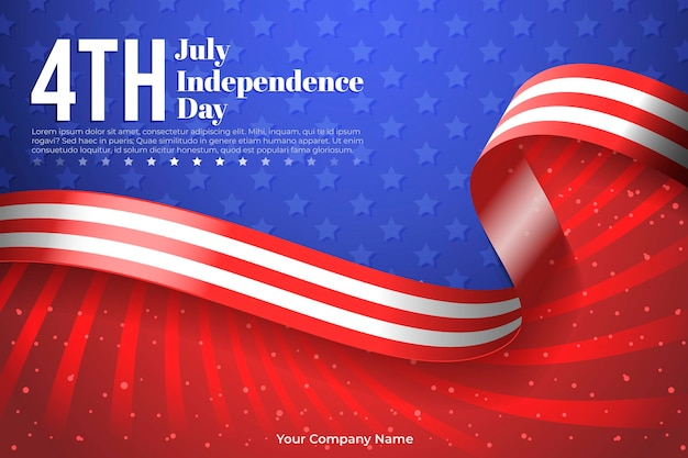 Realistic 4th of july - independence day illustration