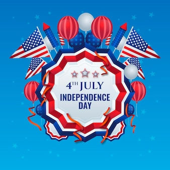 7 월의 현실적인 4 일-독립 기념일 풍선 배경