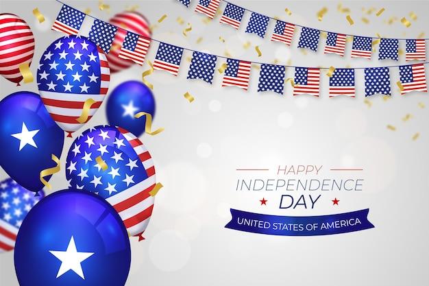 7 월의 현실적인 4- 독립 기념일 풍선 배경
