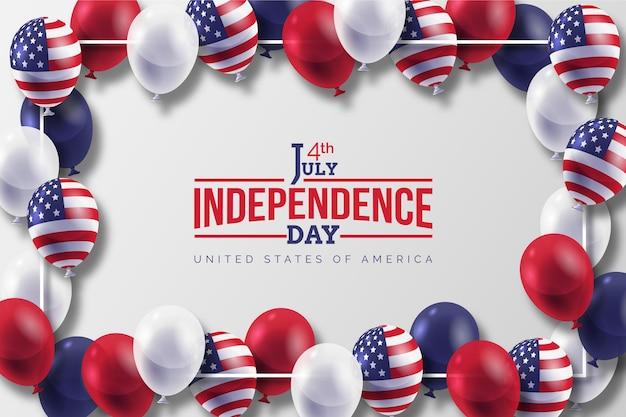 7 월 독립 기념일 풍선 배경의 현실적인 4