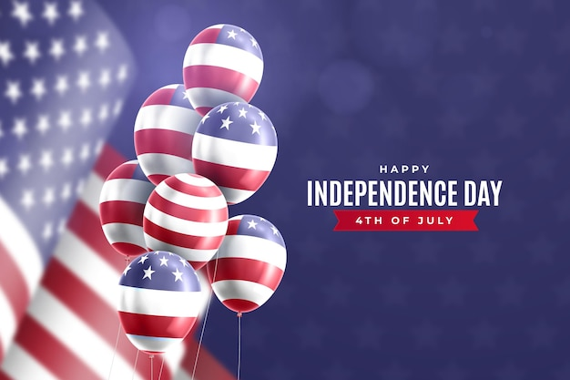7月4日の独立記念日の風船背景 無料ベクター