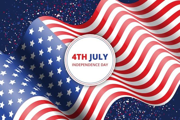 7月の独立記念日のイラストの現実的な4日