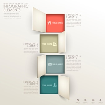 Realistic abstract 3d paper infographic elements