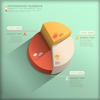 現実的な抽象的な3d円グラフのインフォグラフィック要素