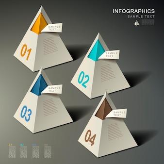현실적인 추상 3d 피라미드 infographic 요소