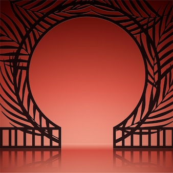 Реалистичный абстрактный фон с экзотическими воротами на оранжевой стене