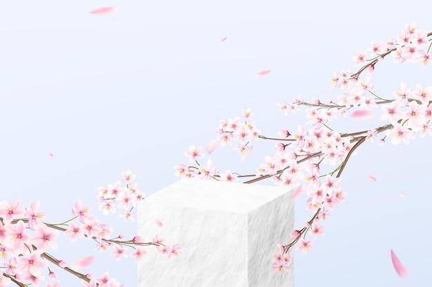 ピンクの花の間に石の正方形の台座と現実的な抽象的な背景。製品のデモンストレーションのために最小限のスタイルで表彰台を空にします。