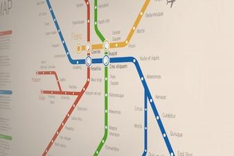 地下鉄路線の現実的な抽象bluredマップ