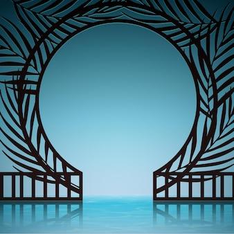 Composizione astratta realistica con cancello esotico