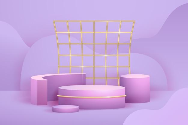 Реалистичные абстрактные геометрические фигуры с золотой фольгой