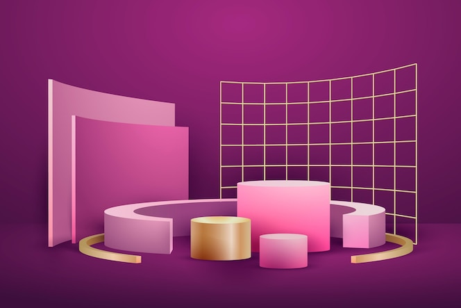 Forme 3d sventate oro geometriche astratte realistiche