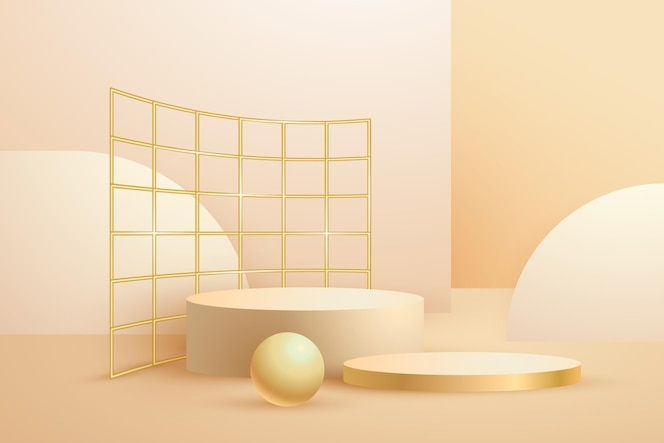 Realistic abstract geometric gold foiled 3d shapes