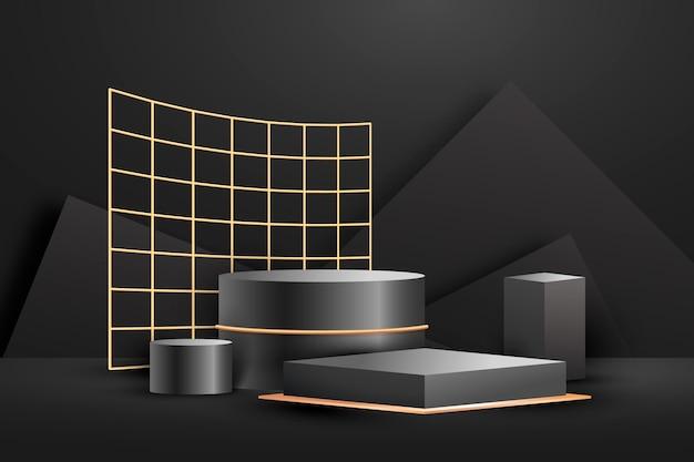 リアルな抽象的な幾何学的な金箔の3d形状
