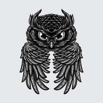 날개 흑백 일러스트 디자인을 가진 현실적인 추상 올빼미