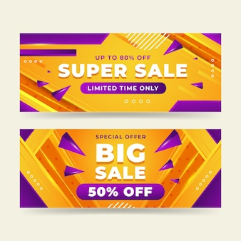 Realistic abstract sale banners set Free Vector